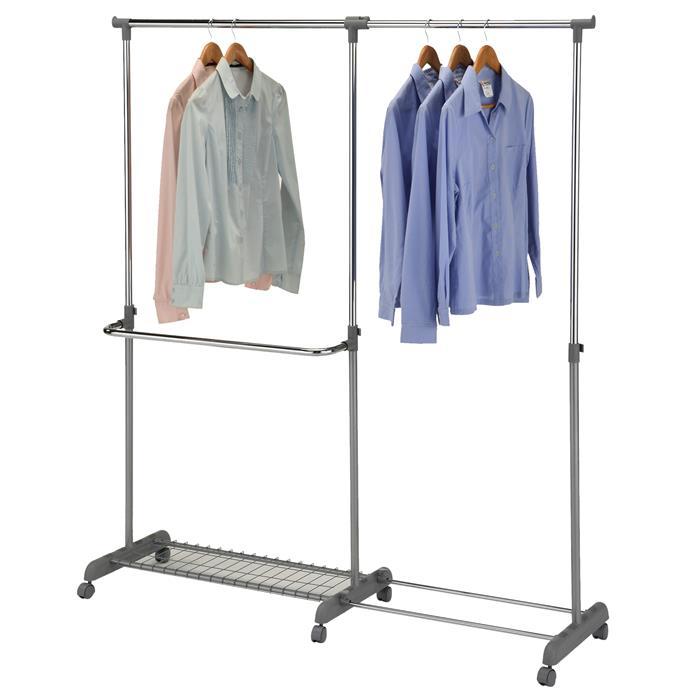 Garderobenwagen MERAN grau/silber höhenverstellbar