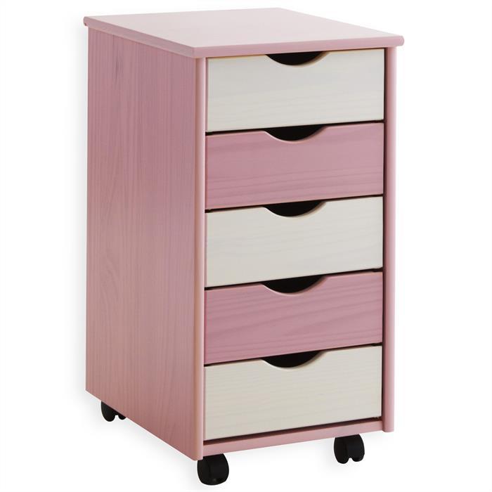 Rollcontainer LAGOS aus Kiefer, rosa-weiß