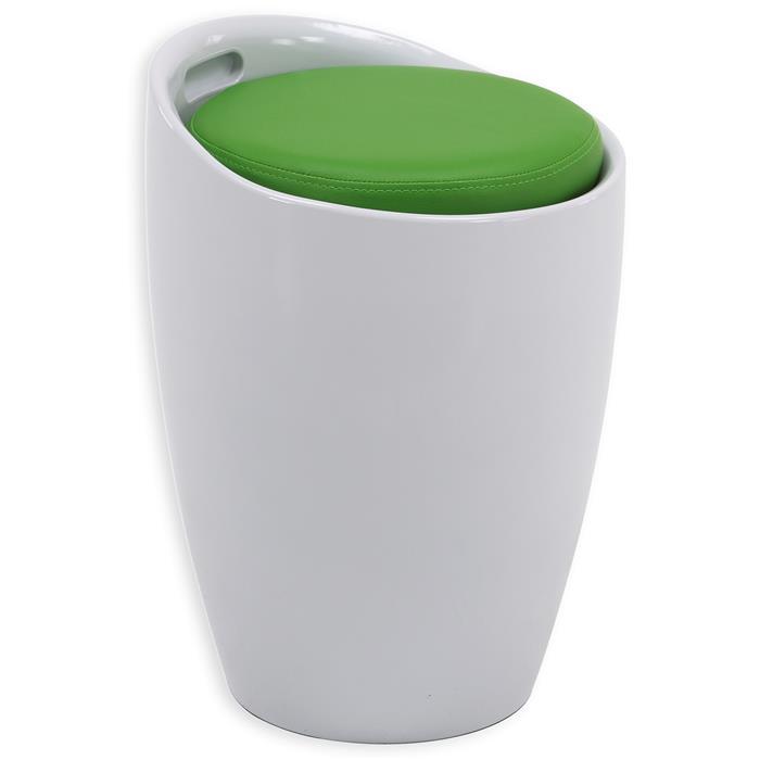 Sitzhocker DANIEL mit Stauraum weiß/grün