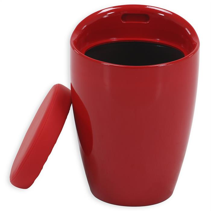 Sitzhocker DANIEL mit Stauraum rot