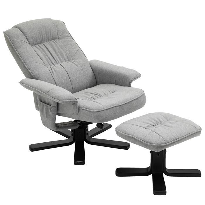 Relaxsessel mit Hocker CHARLY mit Stoffbezug grau/schwarz Fußgestelll schwarz