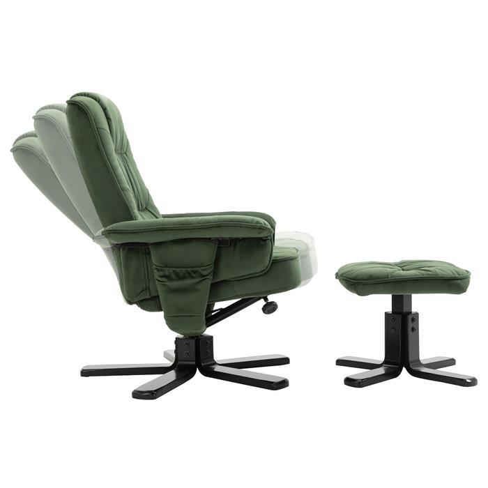 Relaxsessel CHARLES mit Hocker und Samtstoff Bezug in grün