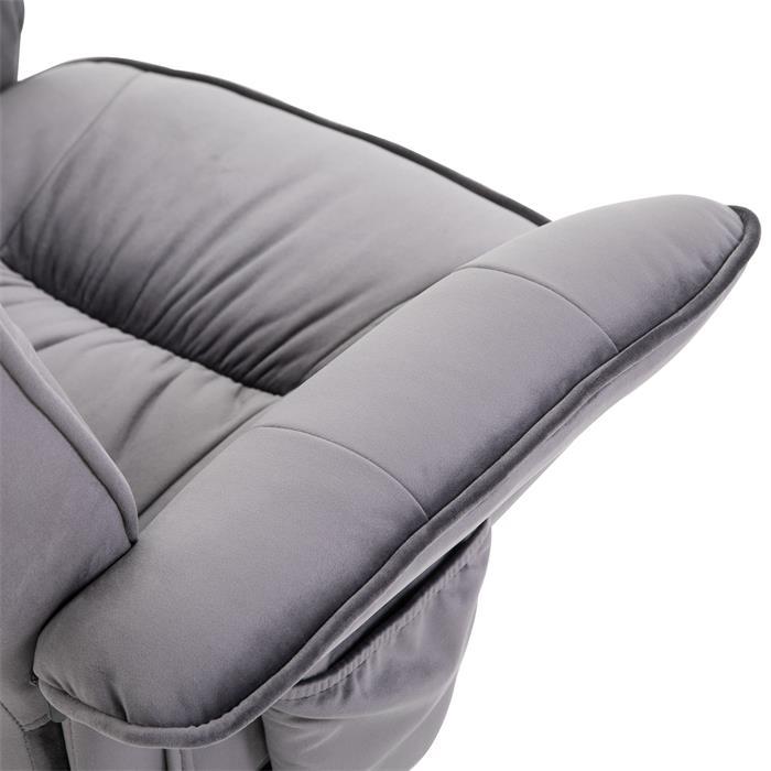Relaxsessel CHARLES mit Hocker und Samtstoff Bezug in grau