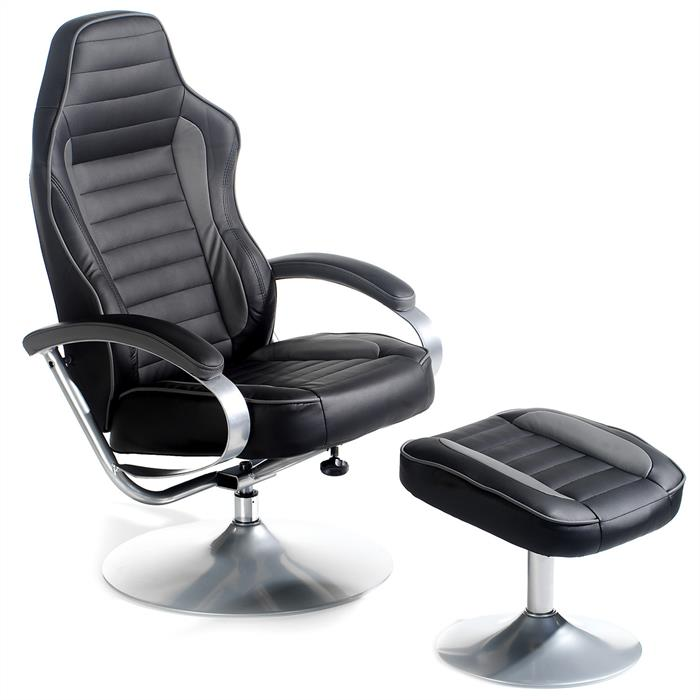 Racing Relaxsesselset SERGIO schwarz grau