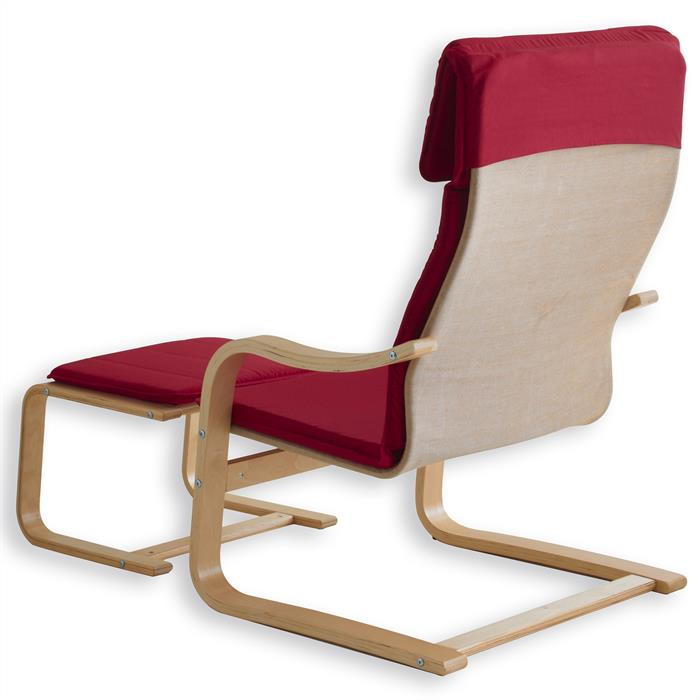 Relaxsessel LINA mit Hocker in rot