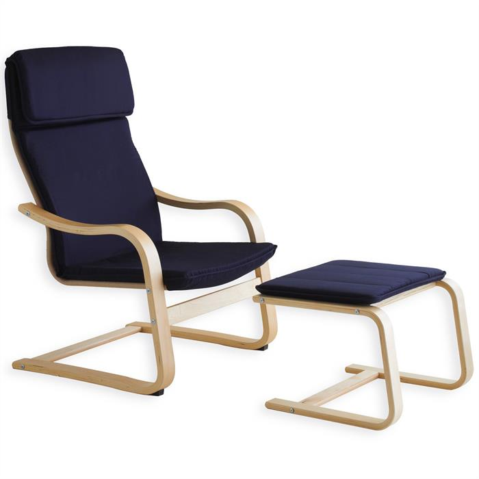 Relaxsessel LINA mit Hocker in blau