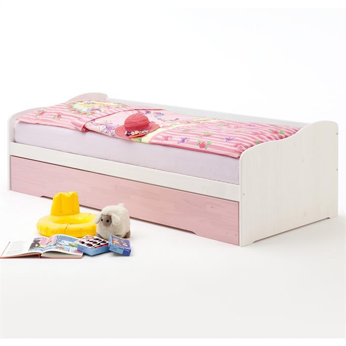 Funktionsbett LILLI in weiß/rosa, Kiefer