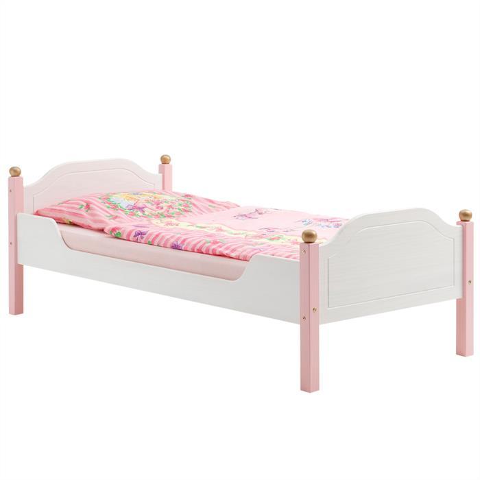 Kinderbett ISABELLA Kiefer massiv weiß/rosa