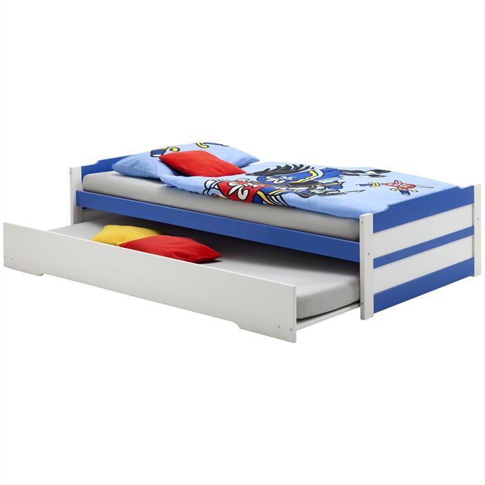 Tandembett LORENA, weiß-blau, 90 x200 cm