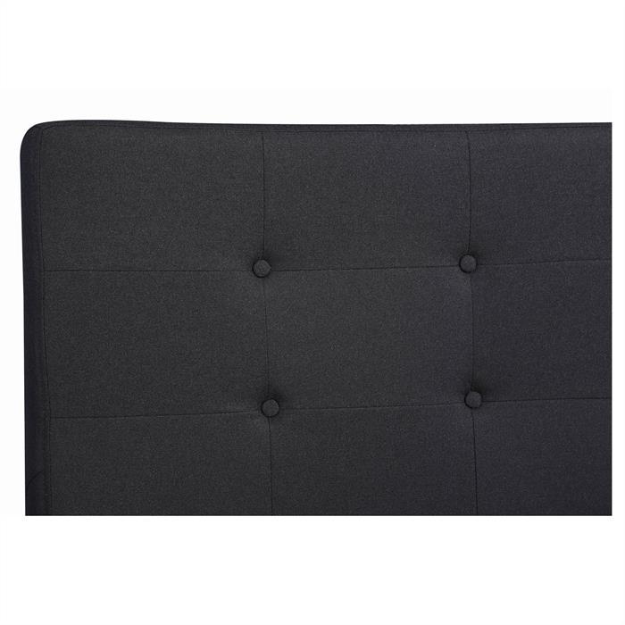 Polsterbett LILLE 140 x 190 cm inkl. Lattenrost mit Stoffbezug in schwarz