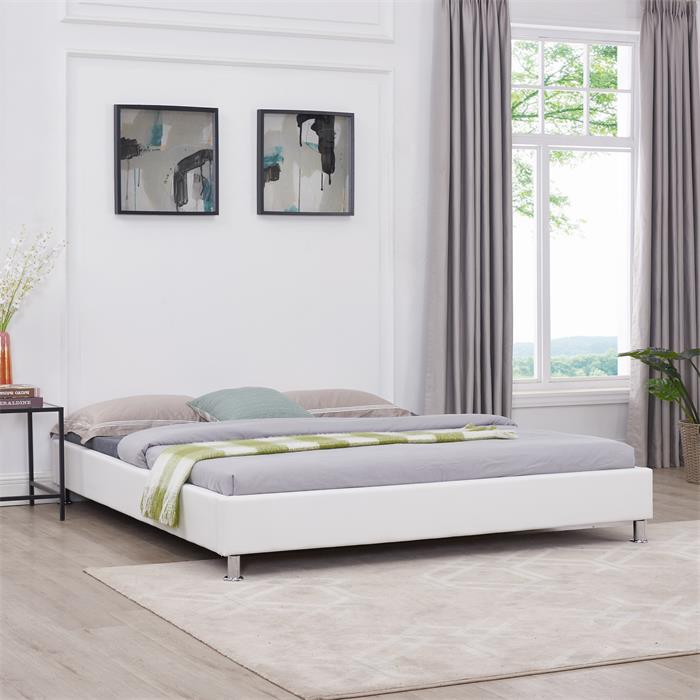 Futonbett NIZZA 180 x 200 cm Kunstlederbezug in weiß