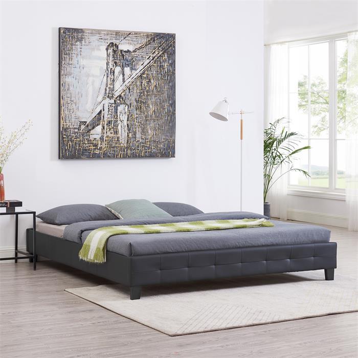 Futonbett GOMERA 180 x 200 cm Kunstlederimitat in schwarz