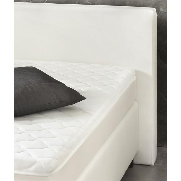 Boxspringbett Set 180 x 200 cm in Leder-Optik weiß