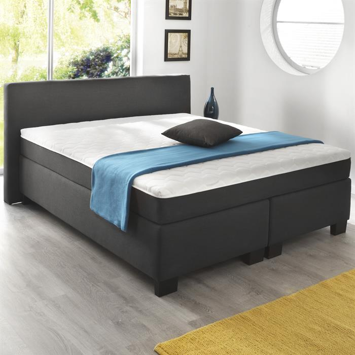 Boxspringbett Set 180 x 200 cm in Webstoff anthrazit
