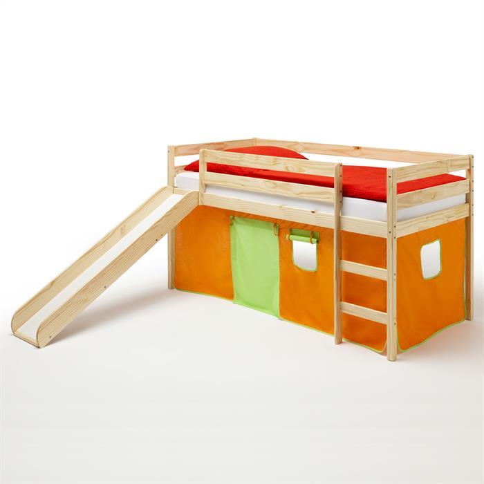 Spielbett BENNY, mit Vorhang in orange