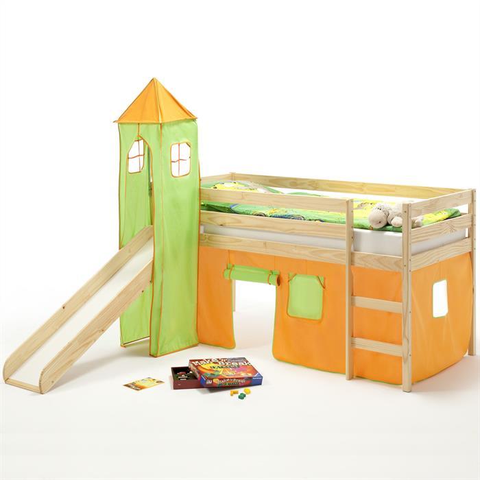 Spielbett BENNY,Turm+Vorhang orange/grün