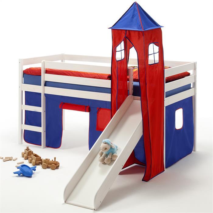 Rutschbett BENNY, Turm+Vorhang in blau/rot