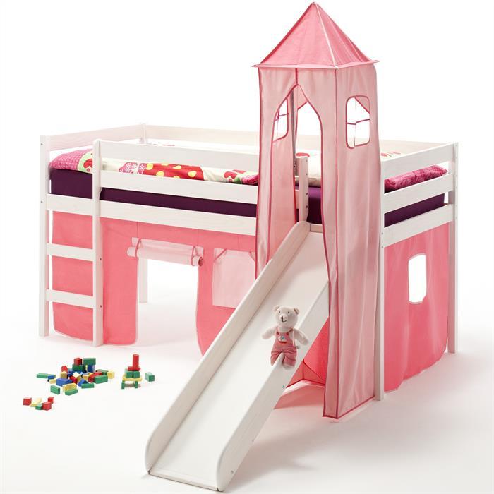 Rutschbett BENNY, Turm+Vorhang in pink