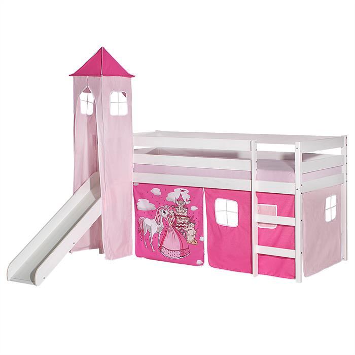 Rutschbett BENNY weiß mit Vorhang + Turm PRINZESSIN pink/rosa
