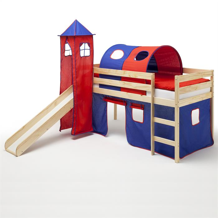 Spielbett BENNY natur in blau/rot