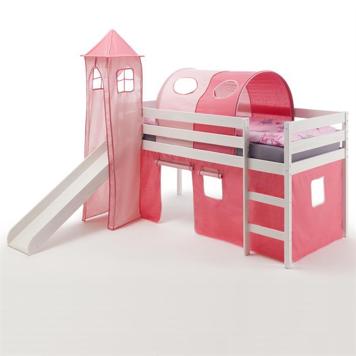 Spielbett BENNY pink/rosa, weiß lackiert