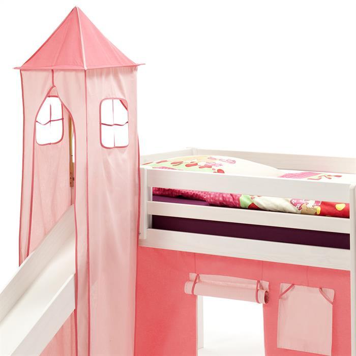 Turm MAX zu Bett mit Rutsche, pink/rosa