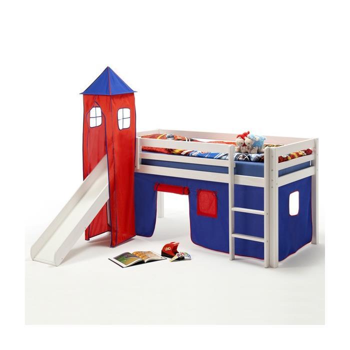Turm MAX zu Bett mit Rutsche, blau/rot