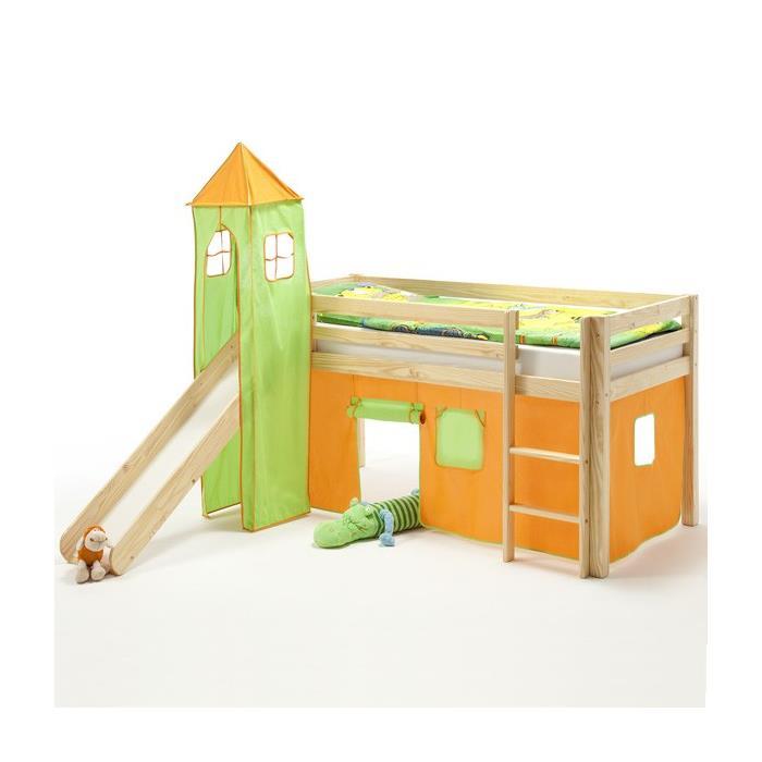 Turm MAX zu Bett mit Rutsche, grün/orange