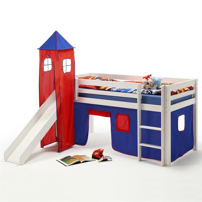 Rutschbett MAX mit Vorhang & Turm blau/rot