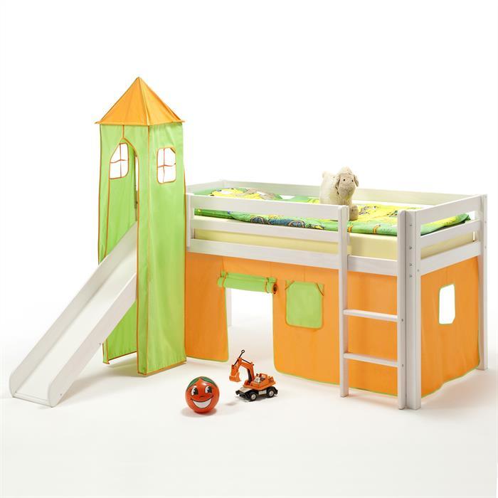 Rutschbett MAX weiß, Vorhang & Turm orange/grün