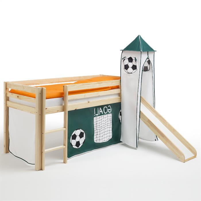 Rutschbett MAX mit Vorhang und Turm Fußball
