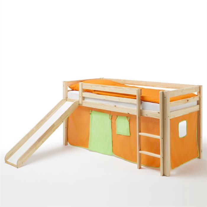 Rutschbett MAX mit Vorhang in orange-grün