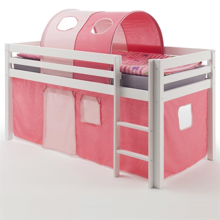 Hochbett MAX in weiß mit Vorhang pink/rosa