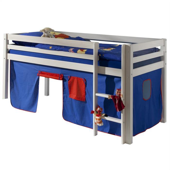 Hochbett MAX in weiß mit Vorhang blau/rot