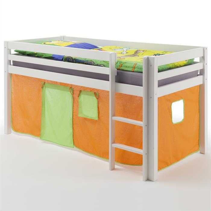 Hochbett MAX in weiß mit Vorhang orange/grün