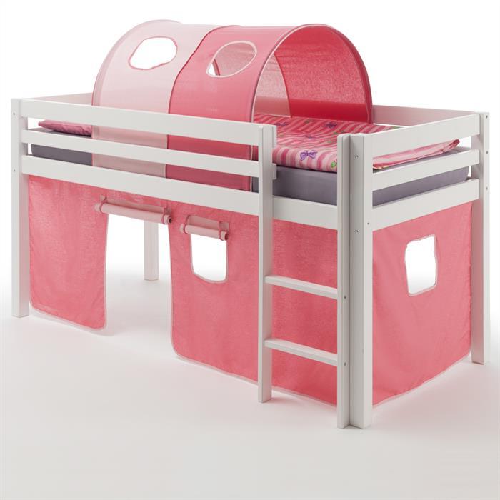 Hochbett MAX mit Vorhang+Tunnel pink/rosa