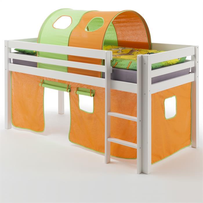Hochbett MAX, Vorhang+Tunnel orange/grün