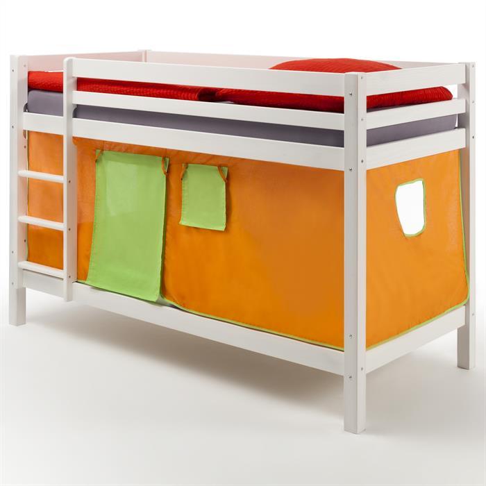 Etagenbett MAX, weiß, Vorhang orange/grün