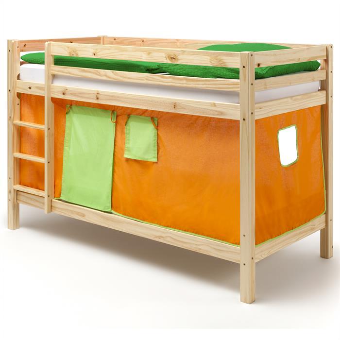 Etagenbett MAX, natur, Vorhang orange/grün
