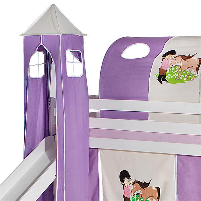 Turm PONY zu Hochbett mit Rutsche, lila/beige