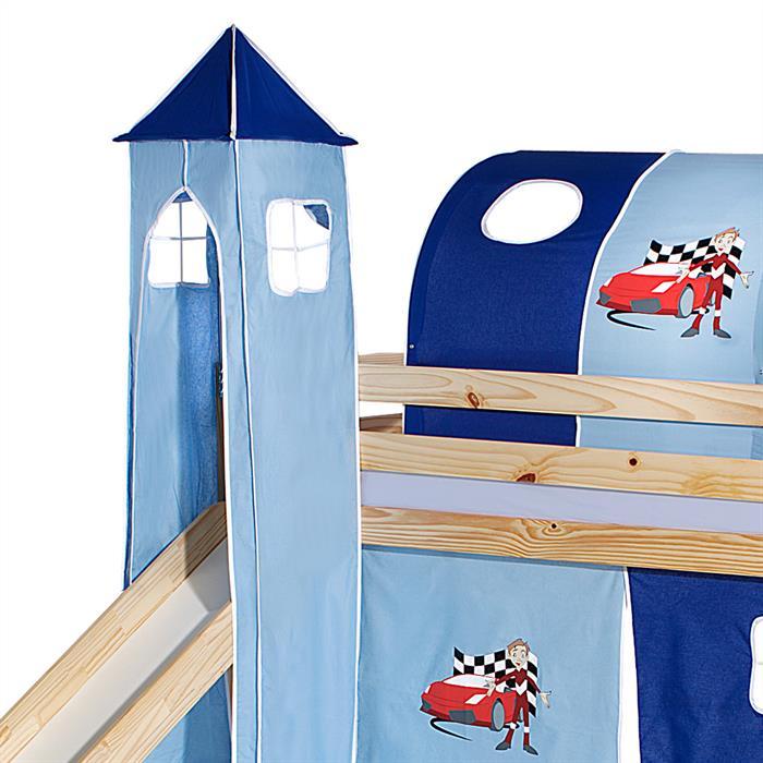 Turm AUTO zu Bett mit Rutsche, hellblau/dunkelblau