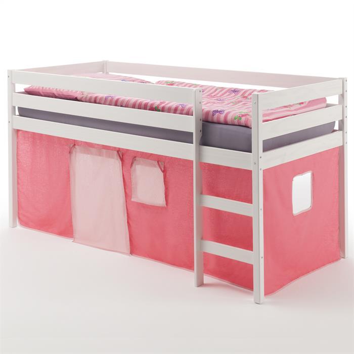 Hochbett ERIK in weiß mit Vorhang pink/rosa