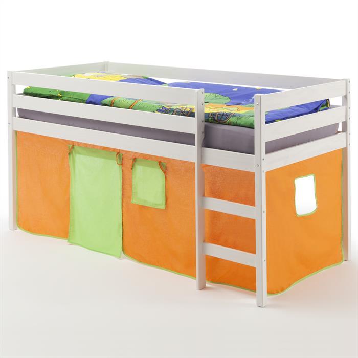 Hochbett ERIK in weiß mit Vorhang orange/grün