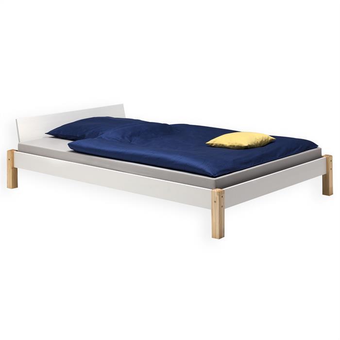 Doppelbett MISTRAL weiß/natur, 140 x 200 cm