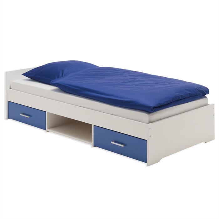 Einzelbett KAI, weiss-blau, 90 x 200 cm
