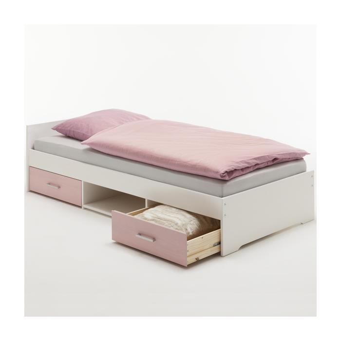 Einzelbett KAI, weiss-rosa, 90 x 200 cm
