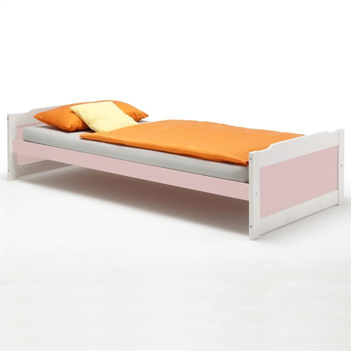 Einzelbett FRITZ 90x200 cm in weiß/rosa