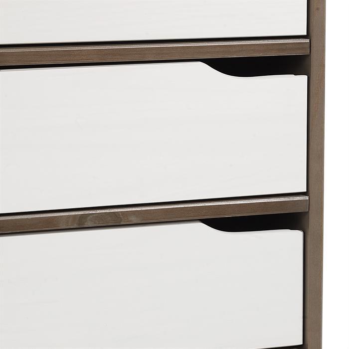 Schreibtisch HUGO in Kiefer massiv taupe/weiß