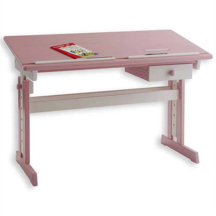 Kinderschreibtisch weiß/rosa FLEXI