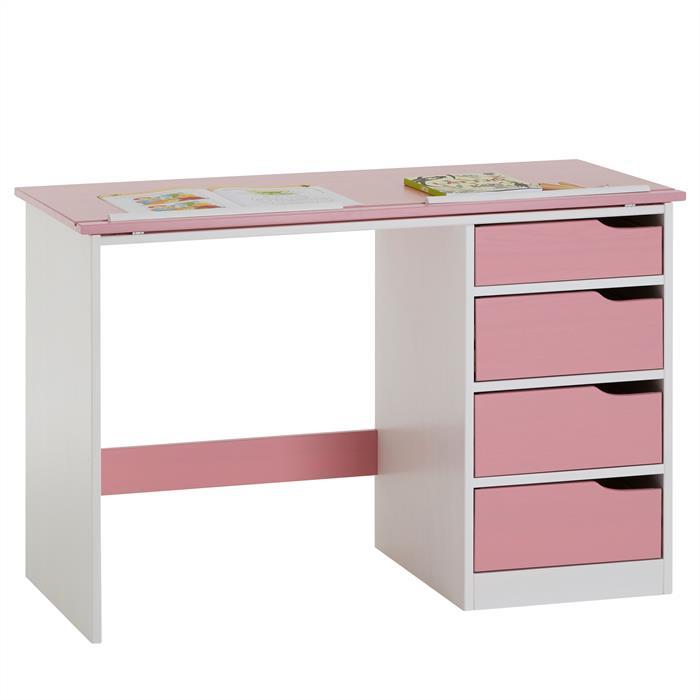 kinderschreibtisch emma kiefer massiv wei rosa. Black Bedroom Furniture Sets. Home Design Ideas